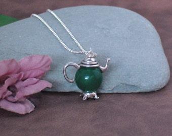 Necklace Silver Teapot Green Aventurine Necklace, Green Stone Necklace, Gemstone Teapot Necklace, Teapot Jewelry
