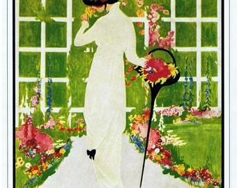 Vintage VOGUE Magazine Cover Poster 'Summer Homes and their Furnishings', Beautifully Illustrated, May 15, 1913, George Plank illustration