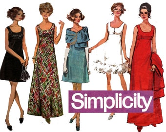 Simplicity 8495 MOD Empire Waist Evening Dress 60s Vintage Sewing Pattern Size 12 Bust 34 inches