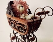 Victorian Style Vintage Doll Buggy. Toy Doll Carriage. Shabby Chic Decor. Nursery Decor. Old Fashioned Victorian Christmas Decor