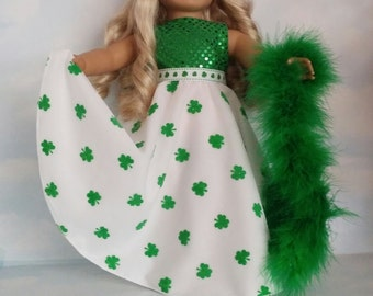 18 inch doll clothes - #273 Green and White St Patricks Gown handmade to fit the American Girl Doll - FREE SHIPPING