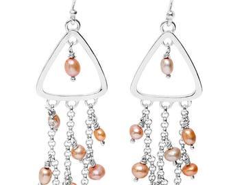 Pearl Triangle Waterfall Earrings: Autumn tones