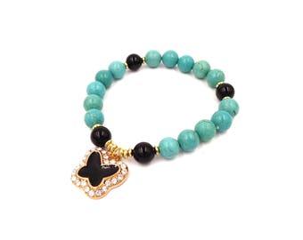 Turquoise Bracelet - Turquoise Magnesite Black Agate Healing Stones Beaded Bracelet Butterfly Charm Bracelet Boho Bracelet Gemstone Bracelet