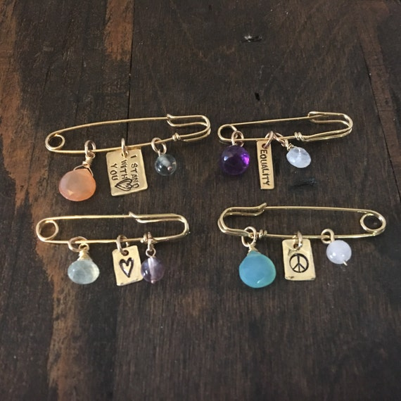 Safety Pin Jewelry, 25% to Charity, You are Safe With Me, Equality Jewelry, Peace Jewelry, Safety Pin Brooch, Amnesty International Donation