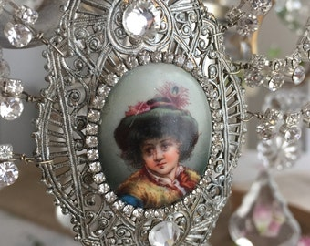 the little prince - vintage assemblage rhinestone necklace portrait little boy filigree festoon art deco statement bib, the french circus