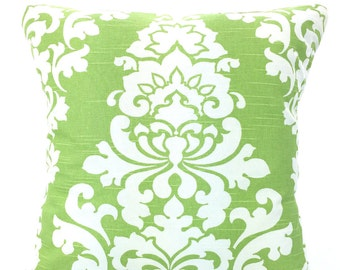 Kiwi Green Pillow Covers, Decorative Throw Pillows, Cushion Covers, Kiwi Green White Damask Berlin Couch Bed Sofa, One or More ALL SIZES