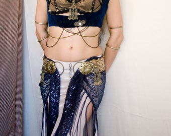 Starry Sky - Blue Sequin Fringe Hip Scarf - Shiny dark blue Tribal Fusion Bellydance Fringe shawl, flapper burlesque, ATS