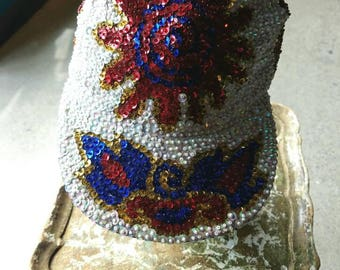 Vintage 90s 1990s sequined baseball cap hat iridescent  white blue red flaming spiral Sun festival burning man Coachella