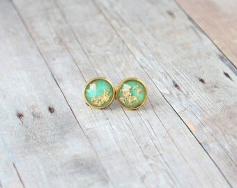 E M E R A L D  - Green and Gold Sparkle, Gold Leaf Foil, Gold Toned Brass Stud Earrings, 10mm or 12mm