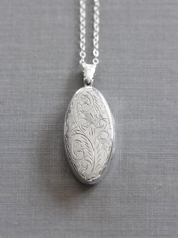 Large Oval Sterling Silver Locket Necklace, Double Side Engraved Vintage Photo Pendant - Memorable