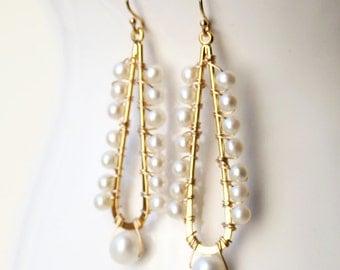 Pearl Earrings, Bridal Earrings, Bridal Jewelry, Wedding Earrings, Chandelier Earrings