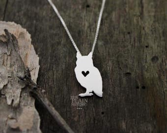 Owl necklace, tiny sterling silver hand cut pendant with heart, tiny wildlife jewelry