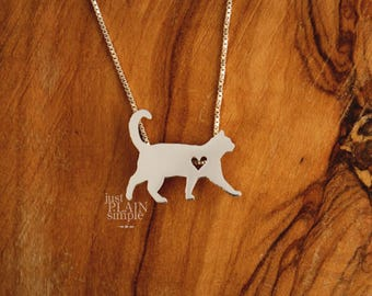 Cat necklace, sterling silver, tiny silver hand cut pendant with heart