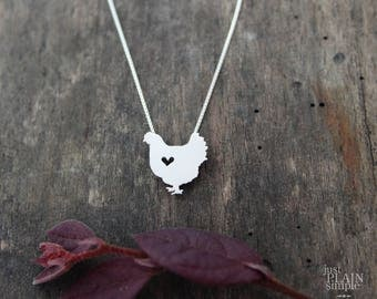 Hen Chicken necklace, sterling silver, tiny silver hand cut pendant with heart