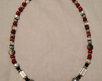 Red Black White Gray and Silver Statement Necklace with Black Metal Ball Focal OOAK