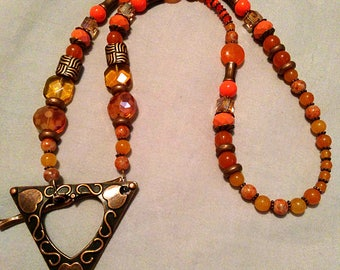 Orange n Copper Necklace with Large Copper Triangle with Hearts Focal  crystal glass beads OOAK