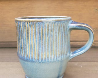 Handmade Ceramic Coffee Mug Tea Cup, Rustic Variegated Blue, 16 oz Porcelain Gift Idea for Him, Artisan Pottery by Licia Lucas Pfadt