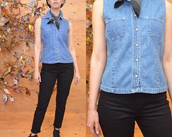 Vintage 90's gap denim blue jean chambray sleeveless shirt top sz small S perfect cut snap button fitted tailored minimalist