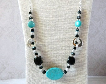 Turquoise Necklace Silver Turquoise Pendant Bohemian Black Stone Necklace Long Boho Necklace December Birthstone Gift Mom Wife Friend