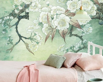 "Pear Flowers Wallpaper Vintage Oriental Floral Branch Wall Decal Art White Blooms Green Yellow Wall Mural 55.5"" x 40.1"""