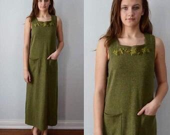 Vintage Green Wool Dress, Sleeveless Dress, April Cornell, 1980s Wool Dress, Jumper Dress, Vintage Dress