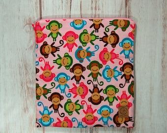 Gallon Size Reusable Bag - Pink Monkeys