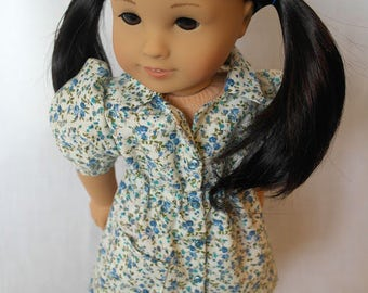 Gangnam Station: A Blue Floral Print Day Dress for 18-Inch Dolls