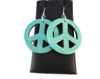 Blue Peace Sign Earrings Long, Aqua Earrings Peace Sign Jewelry Sterling Silver and Magnesite, Peace Love Happiness Earrings for Her Gifts