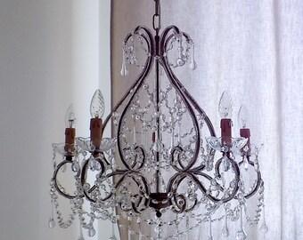 Murano glass drops chandelier, wrought iron birdcage chandelier, Macaroni beads, beaded chandelier