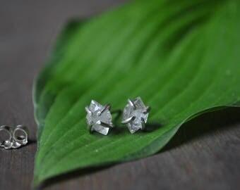 Herkimer Diamond Claw Earrings - Herkimer Diamond Sterling Silver Earrings