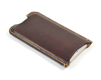 Handmade Leather iPhone Case Hand Dyed Mahogany Brown Vegetable Tanned