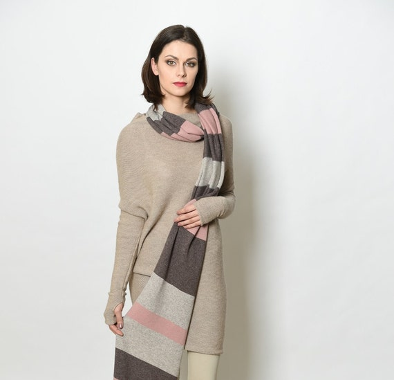 Cashmere wrap, cashmere scarf, knit scarf, knitted scarf, pink scarf, brown scarf, wool scarf women
