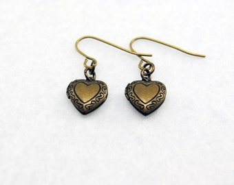 Heart Locket Earrings in Antique Brass - Brass Heart Earrings, Locket Earrings, Steampunk Earrings, Valentine's Day Gift