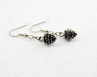 Pine Cone Earrings in Silver - Pinecone Jewelry, Woodland Earrings, Pine Trees, Forest, Nature