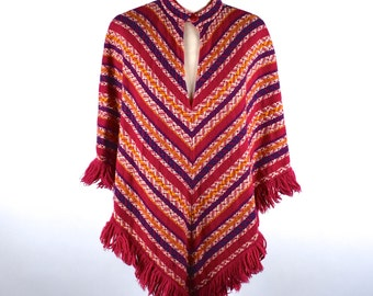 Colorful Poncho with Fringe by Bobbie Brooks, WPL Union Made, Lightweight Wool Poncho