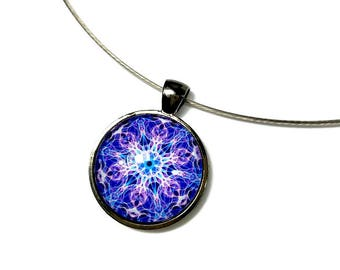 Violet Chakra Necklace Pendant,  Mandala Necklace in Purple Violet, Third Eye, Mandala Jewelry, New Age Jewelry