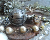 Sleigh Bells        Antique Baby Bell Rattle Funky Pearl Necklace