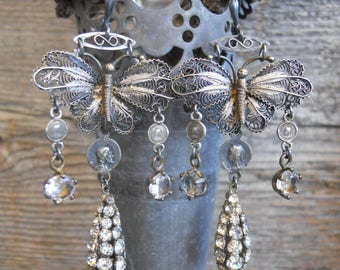 Wings            Antique Silver Filigree Butterfly Religious Assemblage Earrings