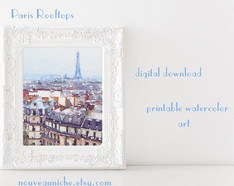 Eiffel Tower Art, Paris bedroom decor, Eiffel Tower, teen girl room decor, printable women gift, Paris art print, watercolor art, gallery