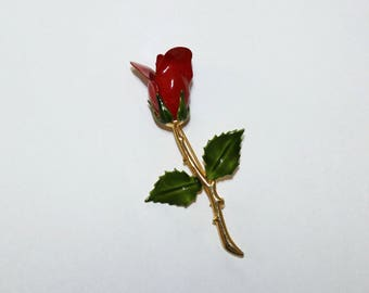 Red Rose Brooch - Mother's Day Rose (1743-1)