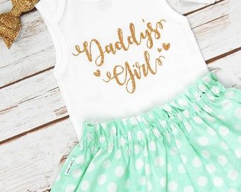 Daddy's Girl Father's Day Outfit; Baby Girl Fathers Bodysuit with Mint Skirt and Headband; Baby Barefoot Sandals; Gerber ® Onesies ® brand