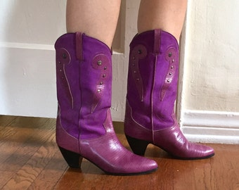 Vintage Purple 80's Boots, Cowboy or Western Style, Low Heel,  Leather, Size 38, 7.5