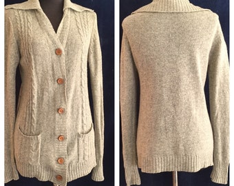 Vintage 70's Cardigan Sweater,  Heather Gray Cabled Knit, Small to Medium, Schoolgirl Preppy Style