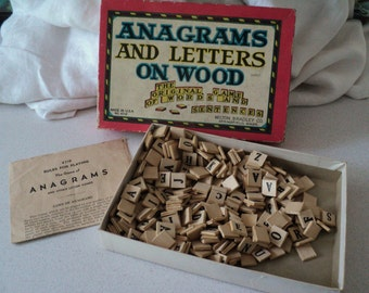 Vintage 1940s Wood Anagrams Game Milton Bradley Wooden Letter Blocks With Original Box 4719