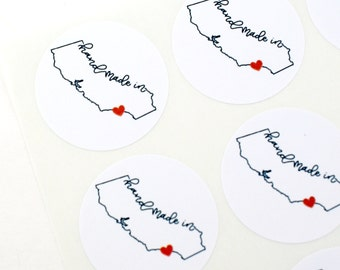 Shop Exclusive - handmade in california with heart over LA - california outline with modern lettering - made in cali