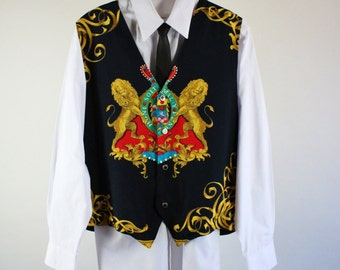 Mens Vest / Rococo Baroque Style Vest / Dress Vest / Vintage / Size Medium / GOGOVINTAGE