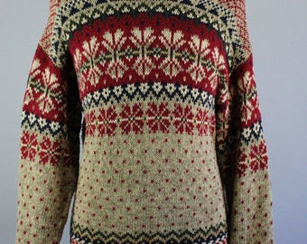 Mens Sweater. Pullover Sweater. Nordic Print Sweater. Tribal Sweater. Fall Winter Sweater. Vintage. Size Large. GOGOVINTAGE