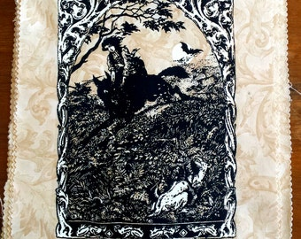 Witch riding wolf handprinted backpatch