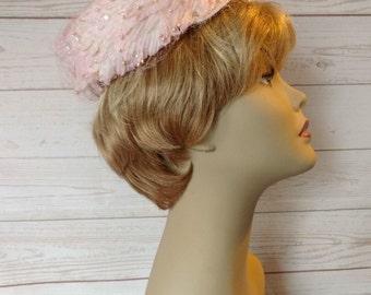 Vintage Pink Pillbox Hat - Pink Flower Hat - Pink Feather Hat - Pink Halo Hat - Hat with Veil - Hat with Pearls Sequins - Wedding Hat