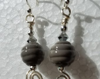 Grey Swirl Lampwork Bead Earrings Sterling Silver